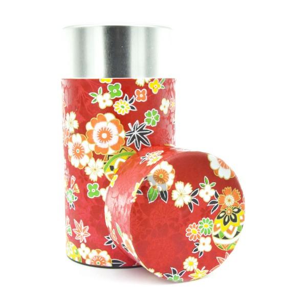 Teedose(hoch) Blumen/rot