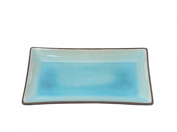 GLASSY TURQUOISE PLATE   21,5X12,7CM