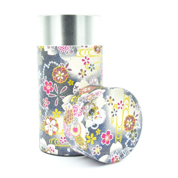Teedose(hoch) floral/dunkelblau