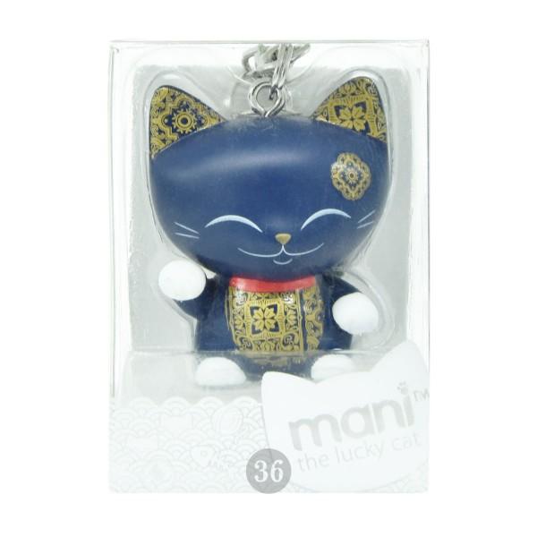 "Mani the lucky Cat Schlüsselanhänger ""dunkelblau"", 4cm"