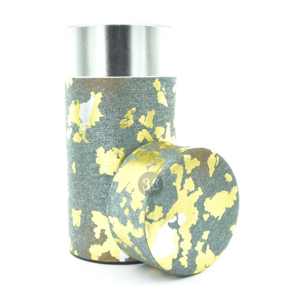 Teedose(hoch) grau mit Gold/Silber