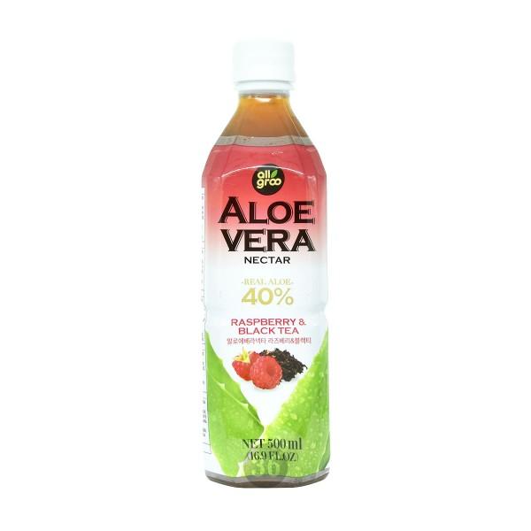 All Groo - Aloe-Vera-Getränk mit schwarzem Tee und Himbeersaft, 500ml