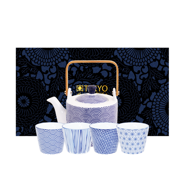 Tokyo Design - Tee-Set-Nippon-Blue (Teekanne 0,8l, 4xBecher 180ml)
