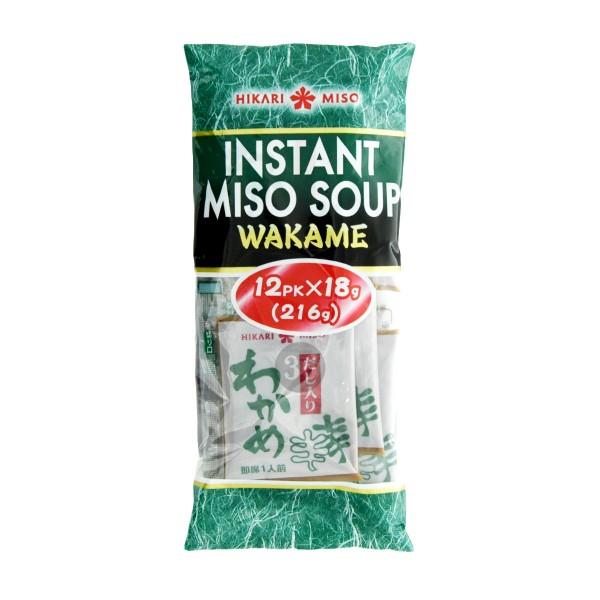 Hikari Miso - Instant Miso-Suppe mit Wakame, 12x18g