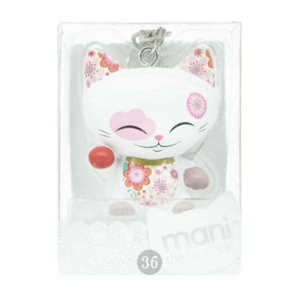 "Mani the lucky Cat Schlüsselanhänger ""weiß/floral"", 4cm"