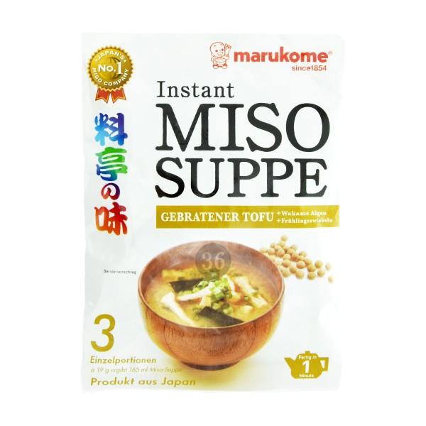 Marukome - Instant-Miso-Suppe, gebratener Tofu, 3x19g
