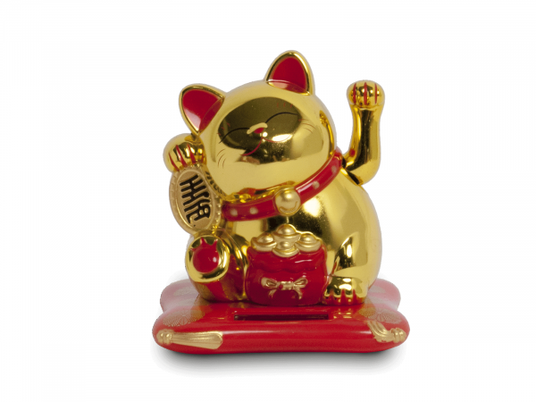GOLD LUCKY CAT SOLAR | 9X10X10,5CM