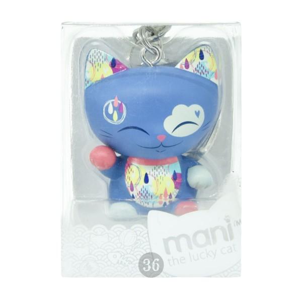 "Mani the lucky Cat Schlüsselanhänger ""blau"", 4cm"