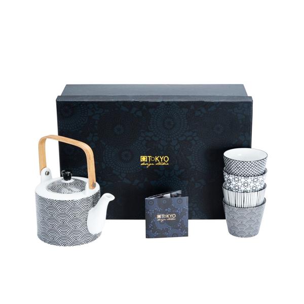 Tokyo Design - Tee-Set-Nippon-Black (Teekanne 0,8l, 4xBecher 180ml)