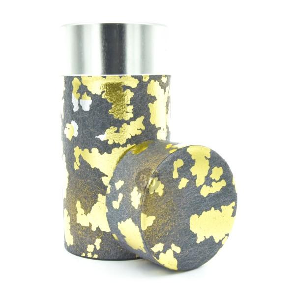 Teedose(hoch) dunkelgrau mit Gold/Silber